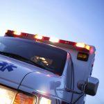 Ambulance against a blue sky.