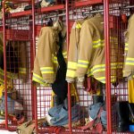 Fireman coats and boots wait for the next call