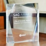 Close up of GTG's Esri Special Achievement in GIS (SAG) Award 2016