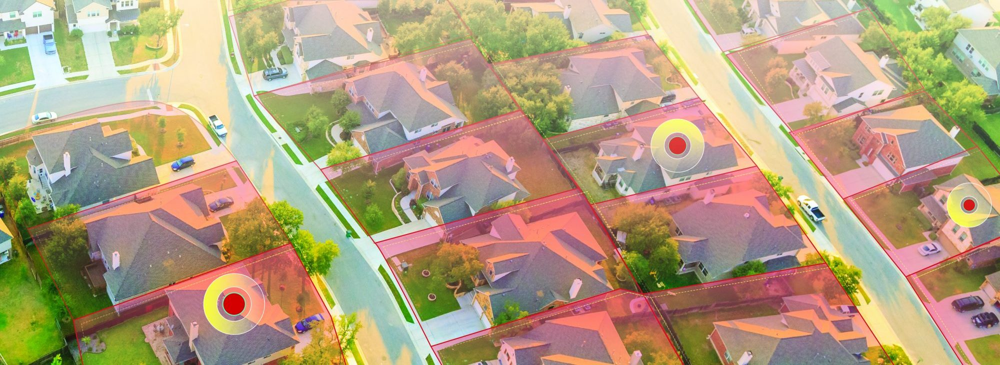 Parcel map overlay on houses showing GIS for government parcel land management
