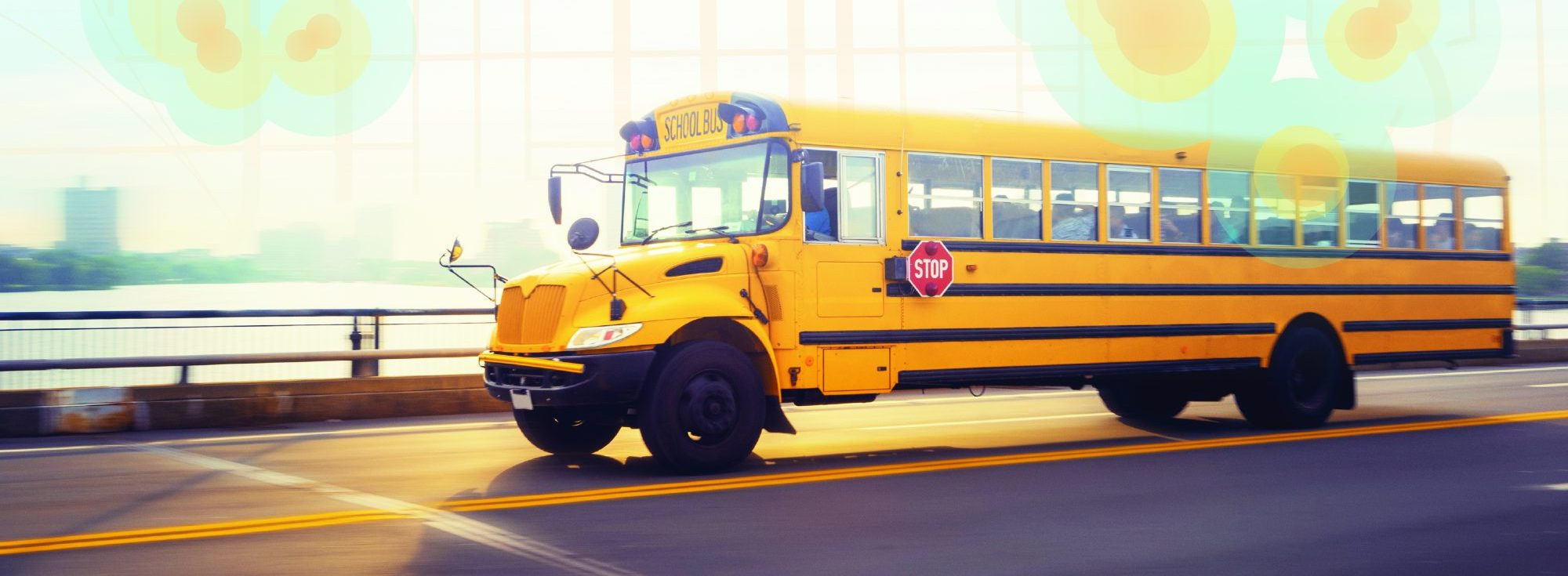 School bus with GIS map overlay