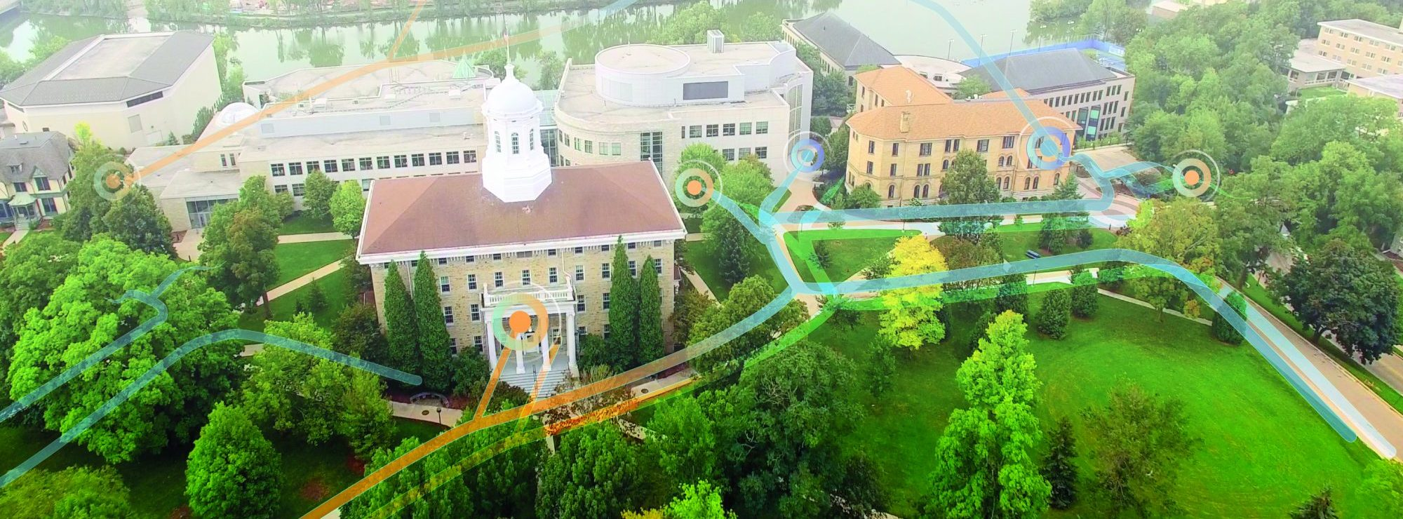College campus with GIS Fiber Management System