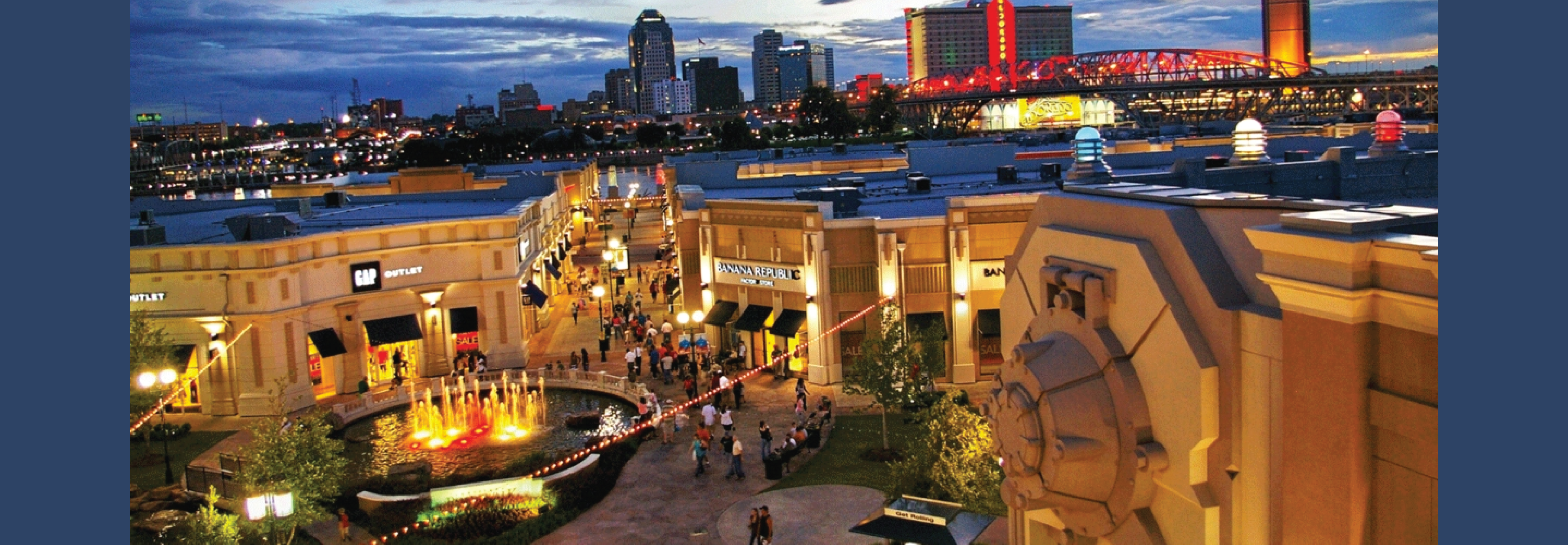 City of Bossier, LA shopping center at night. The City uses GIS for Utilities.