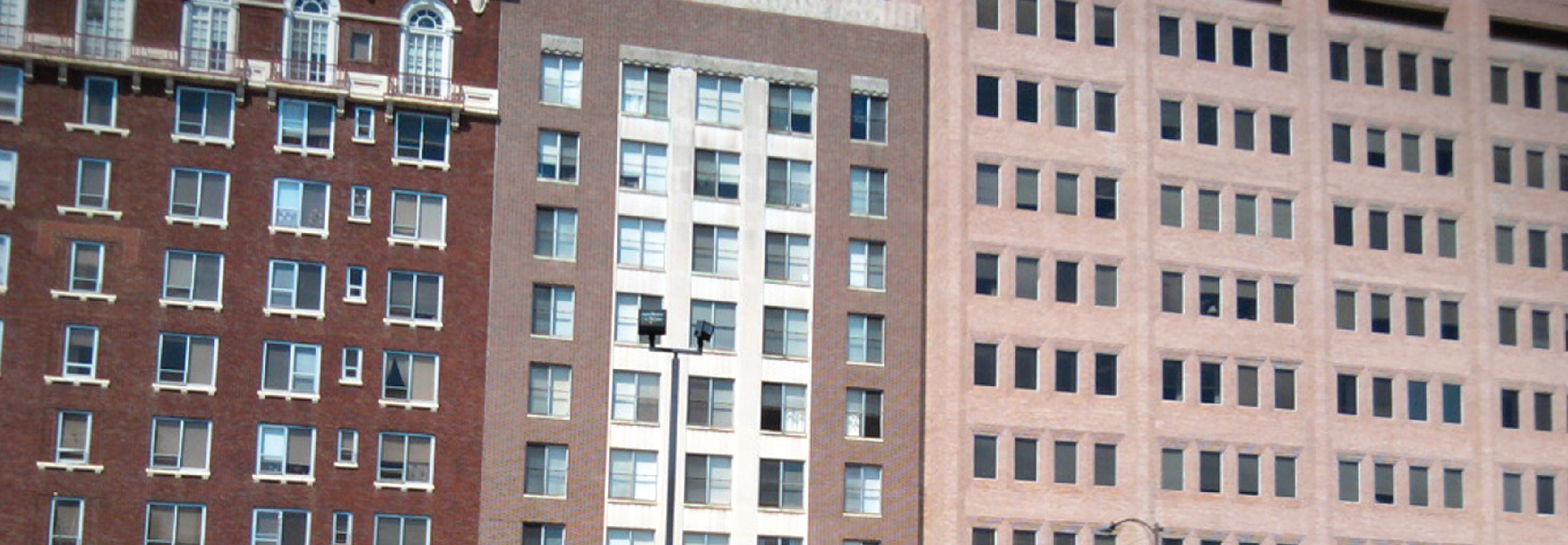 Close up of apartment buildings in Columbus Consolidated Government, Georgia. The City uses GIS for Land records and parcel fabric.