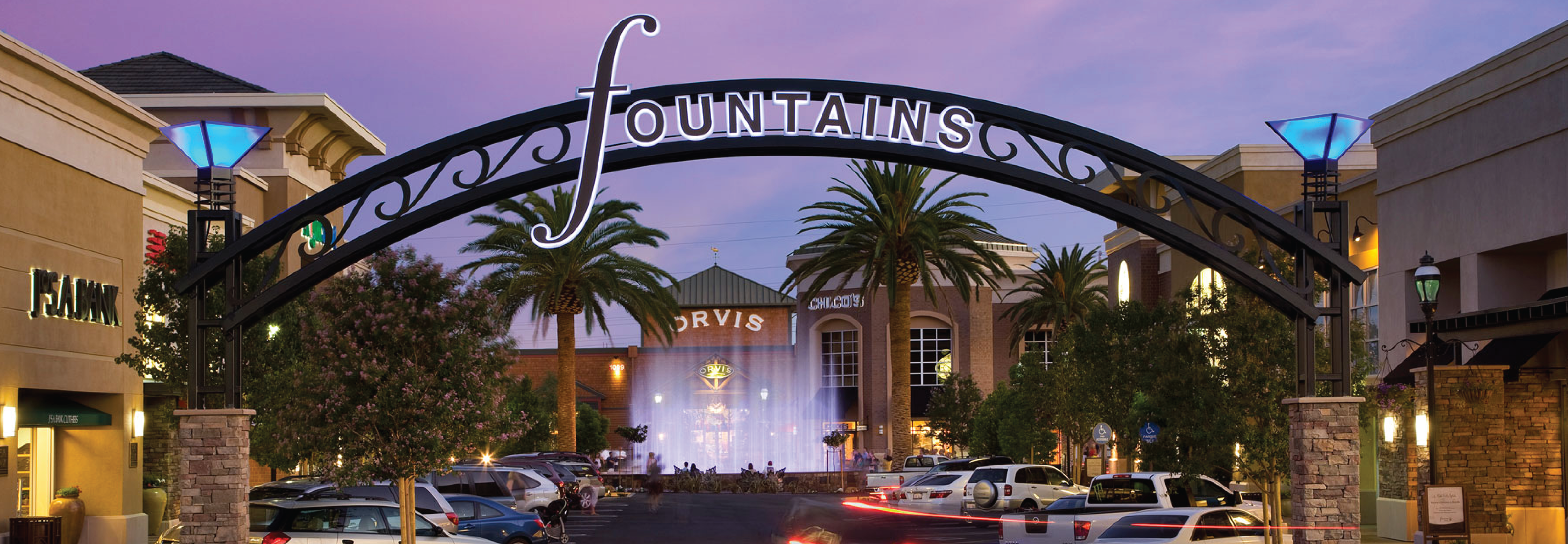 View of the entrance to the City of Roseville, California's Shopping Center. The City uses GIS Strategic Planning.