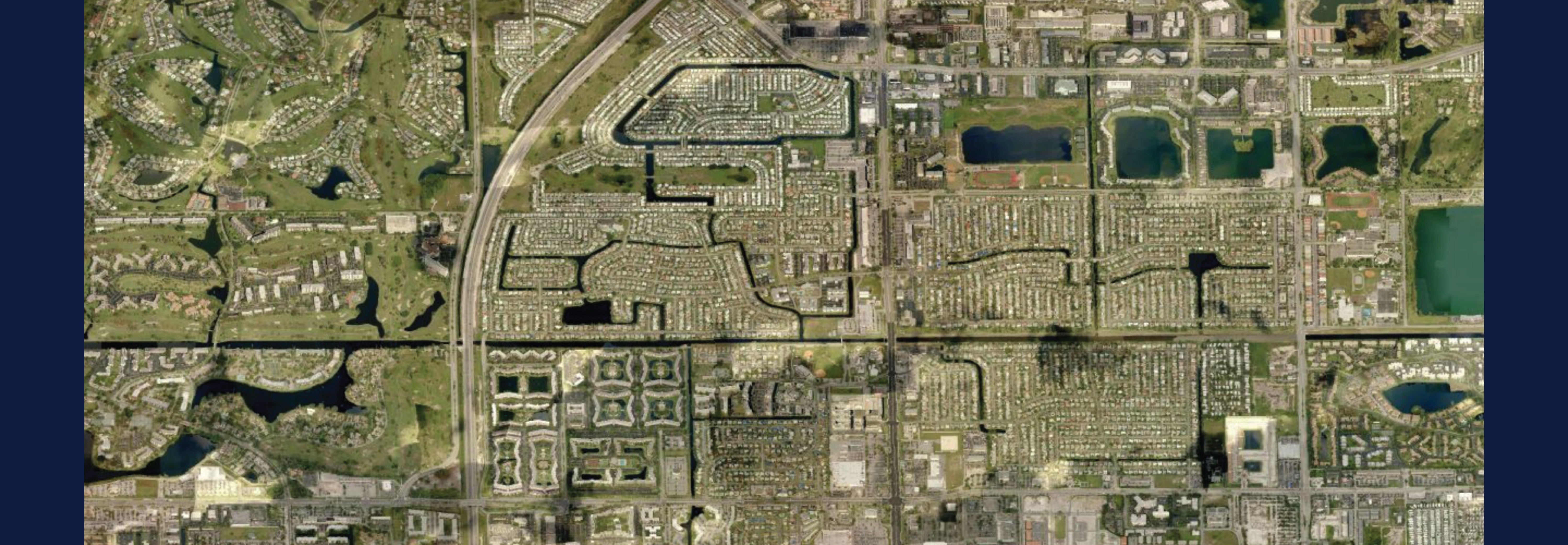 Lauderdale Lakes, Florida. Aerial view of tax parcels for tax assessors using GIS.