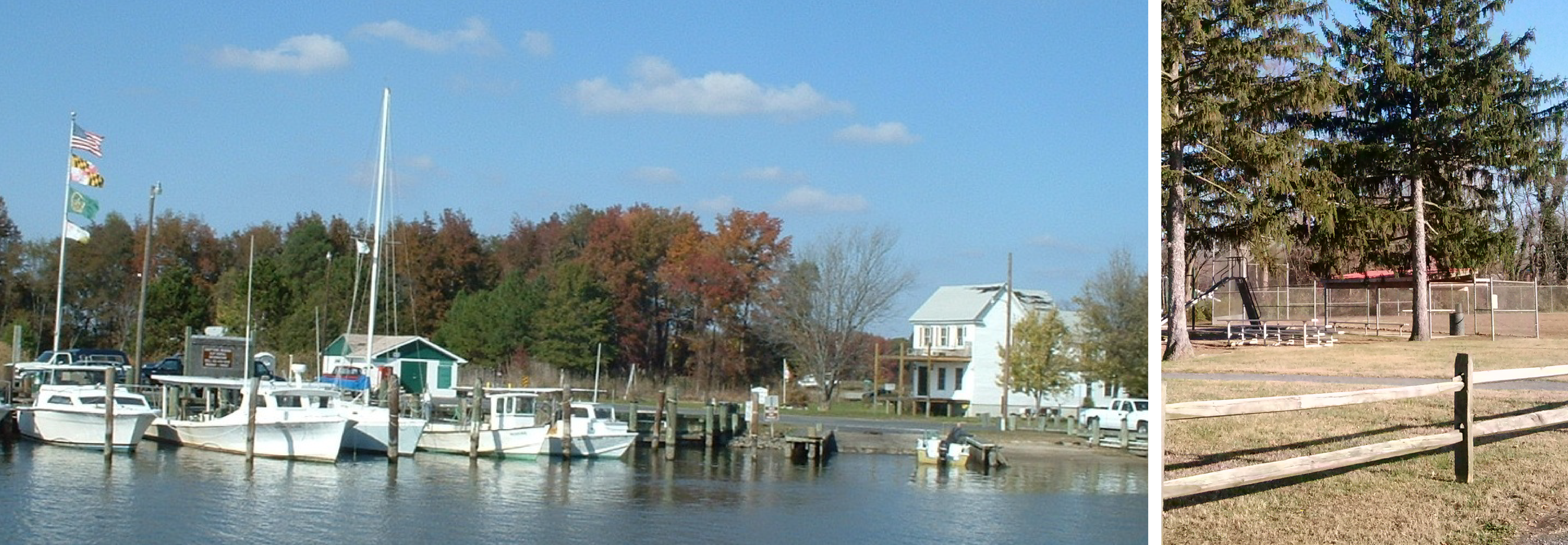 A pier with boats docked in Caroline County, Maryland, and a picture of a park fence.